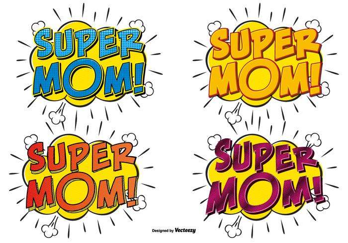 Super Mom Comic Text Illustraties