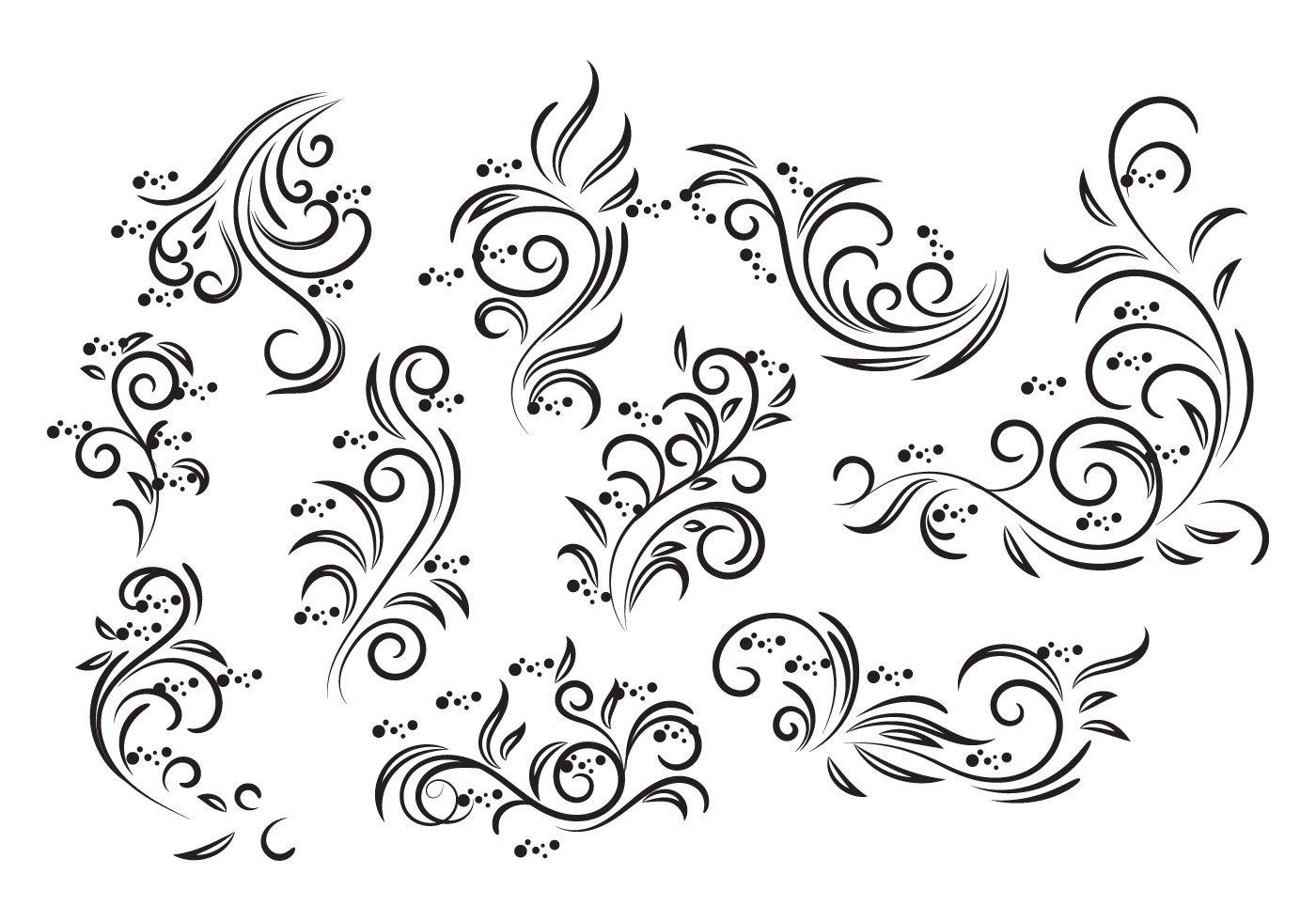 Line Art Design Free Download : Vintage floral design vector download free art
