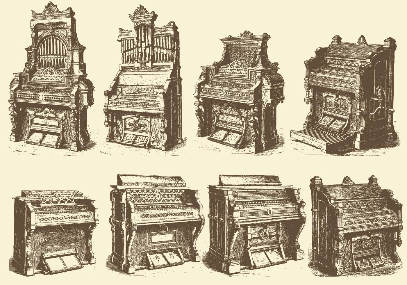 Órganos de tubos antiguos - Descargue Gráficos y Vectores Gratis