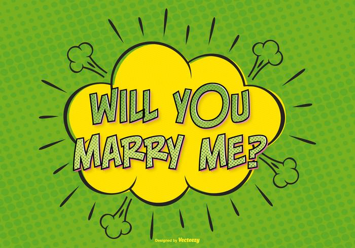 Comic Style Marry Me Illustration