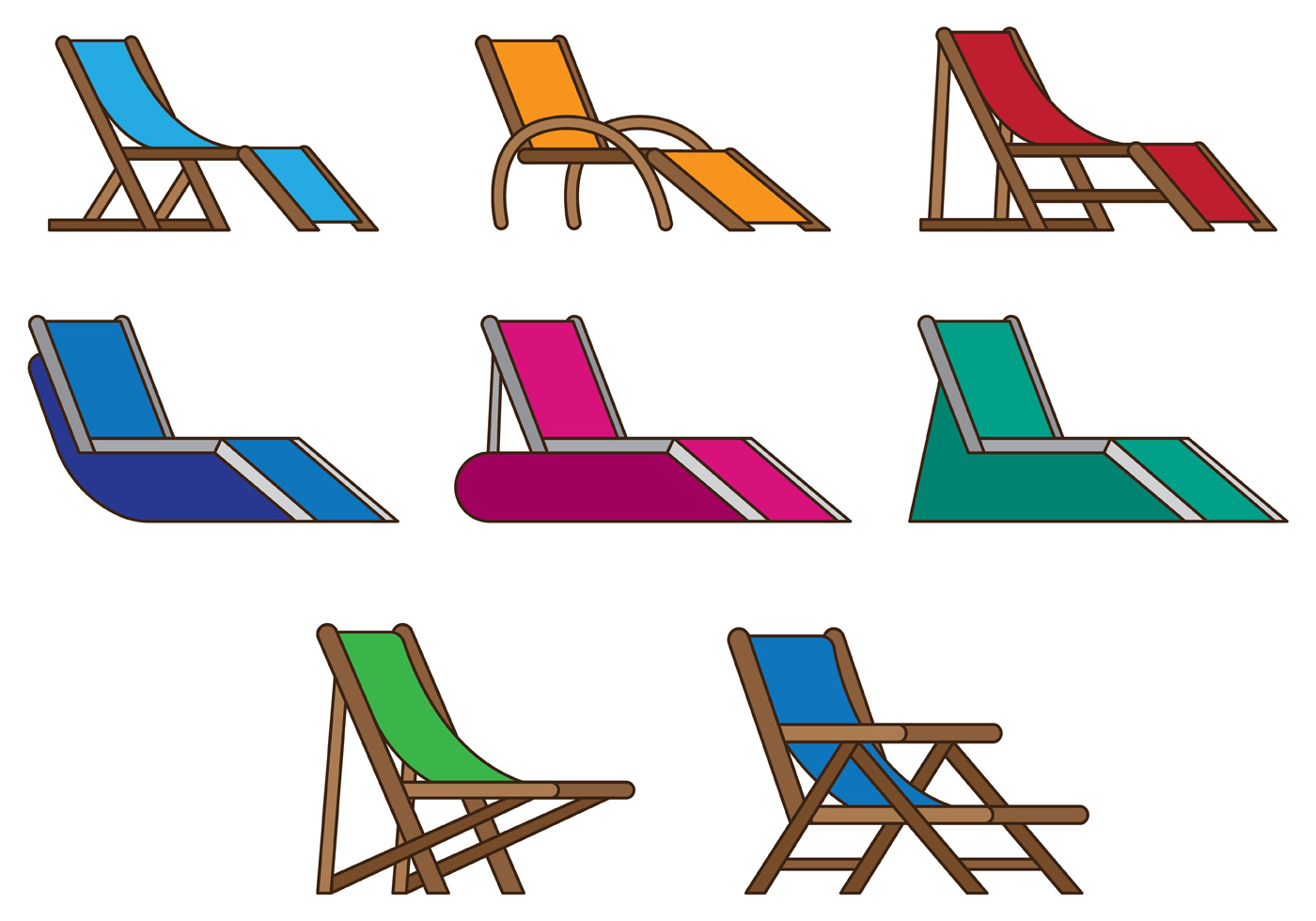 Set Of Deck Chair Vector - Download Free Vectors, Clipart ...