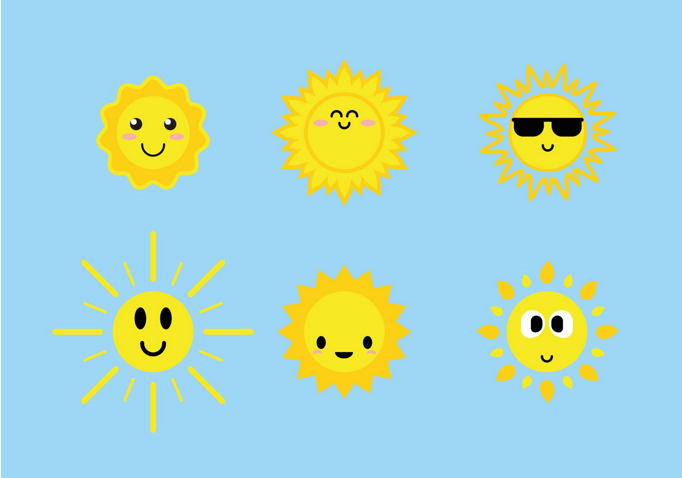 Cute Sun Icons Vector Download Free Art Stock