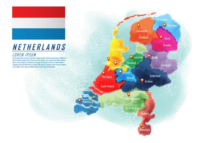 Painted Netherlands Map Vector