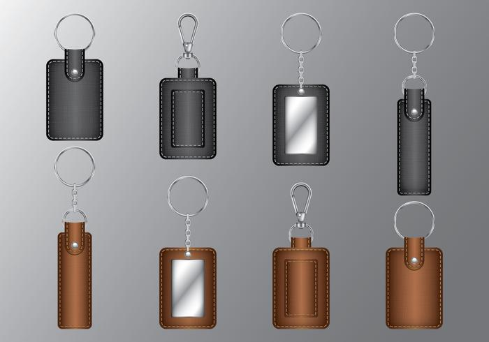 Leather Rectangle Keychains