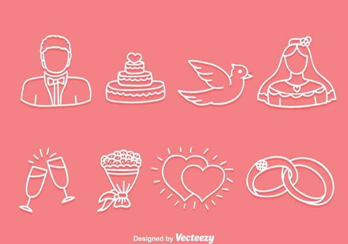 Hand Drawn Wedding Icons Vector