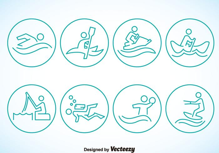 Water Sports Circle Icons