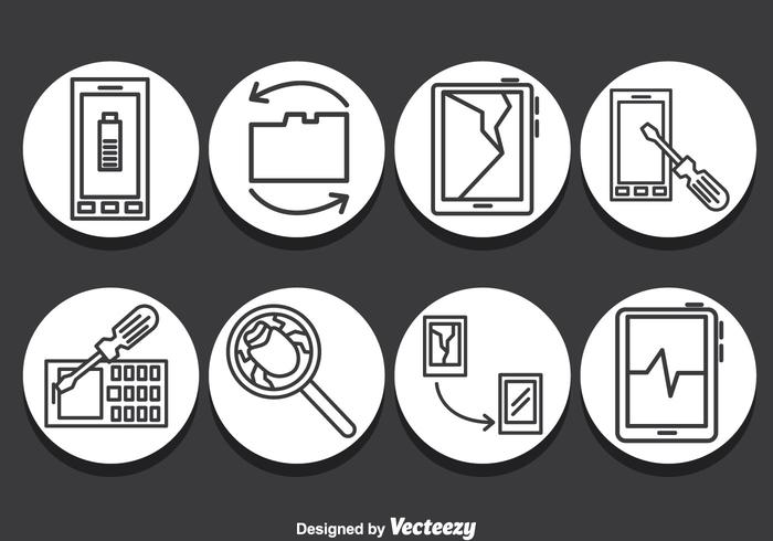 Smartphone Repair Icons Vector