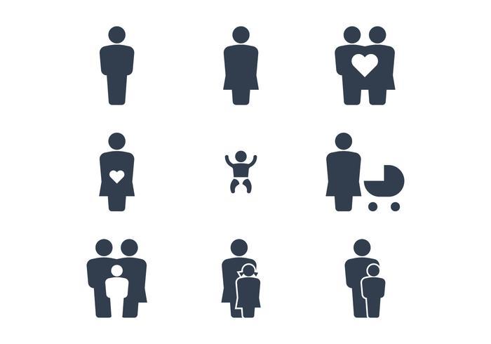 Icônes de famille heureuses