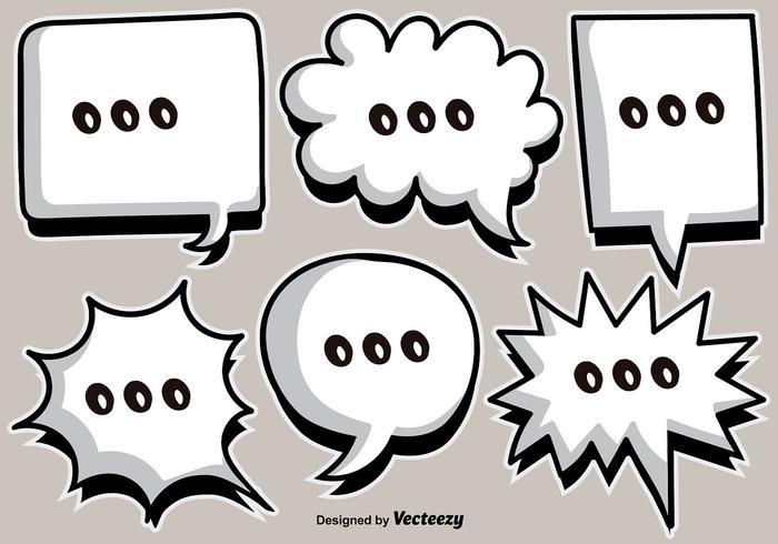 Vector cartoon witte speech bubbles