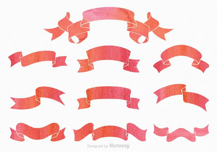 Gemalte Ribbon Sash Vector Set