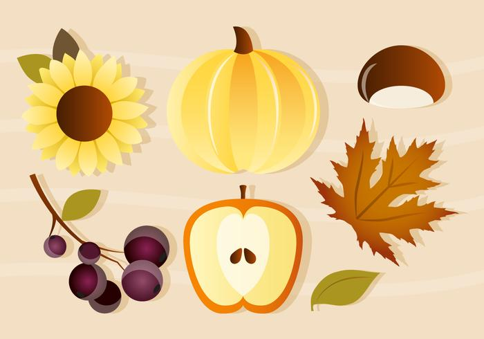Free Vector Pumpkin and Apple Autumn Elements