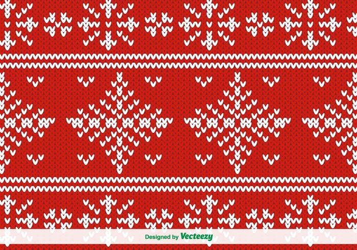 Red Knitted Vector Pattern For Christmas