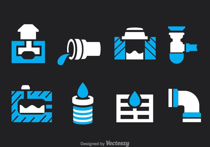 Sewage Icons Vector Set