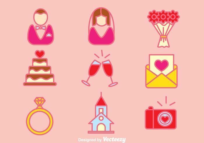 Wedding Planner Element Icons Vector