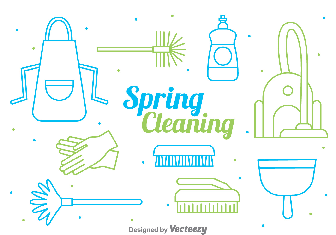 Spring Cleaning Line Style Vector Download Free Vector