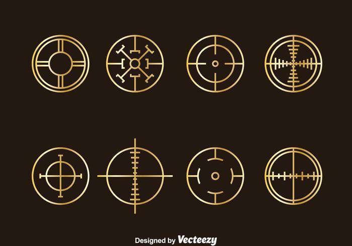 Golden Crosshairs Vector Set