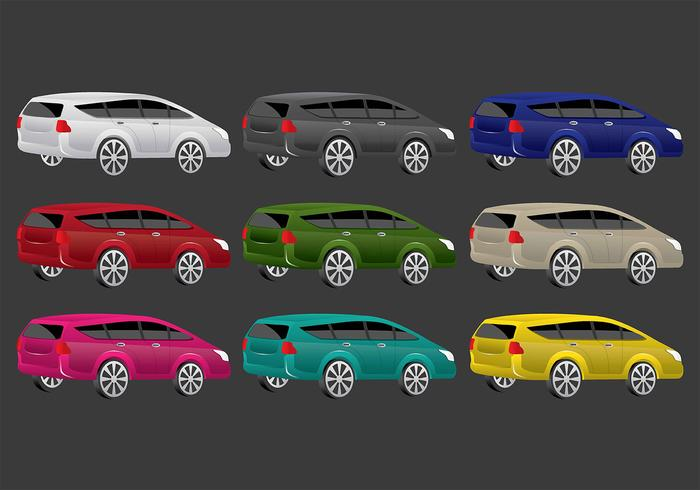 Colorful Prius Vector Icons
