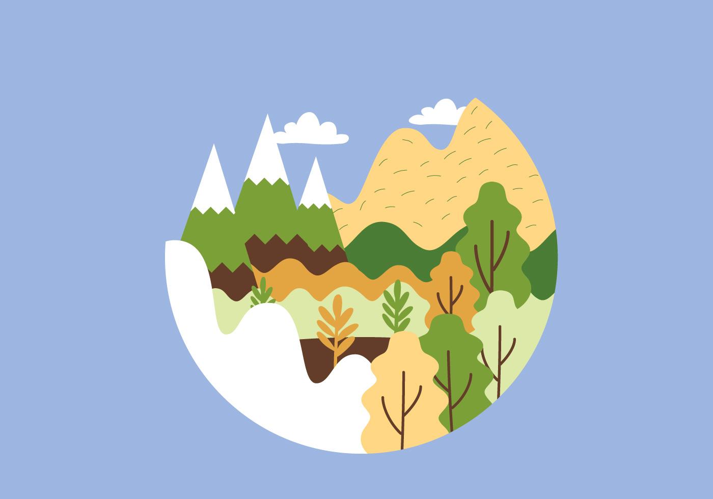 circular mountain landscape illustration