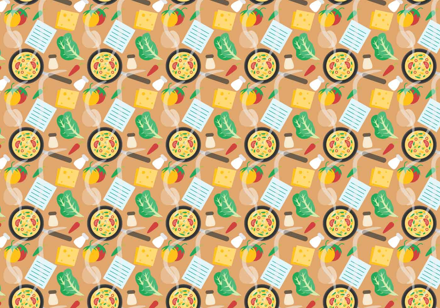 Free Recipe Card With Food Pattern Vector Download Free
