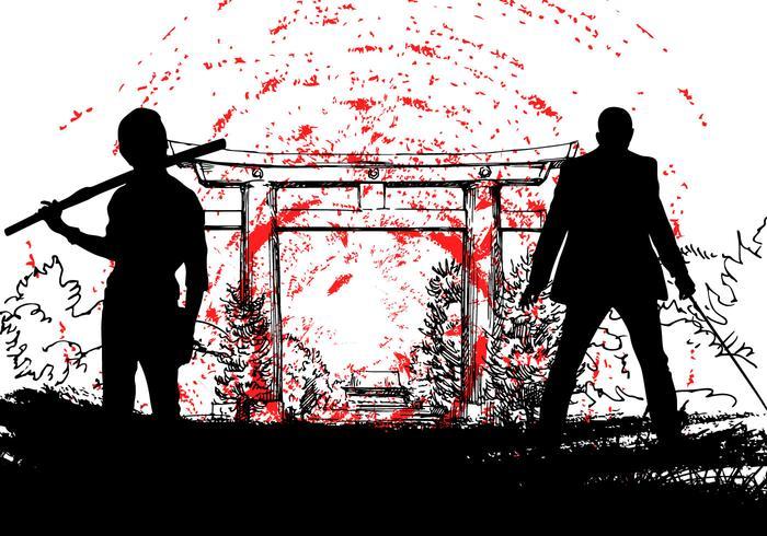 Japanese Yakuza with samurai silhouette