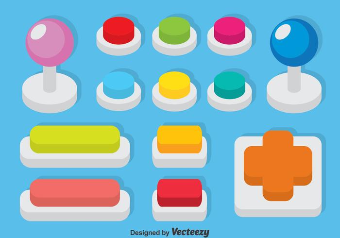 Arcade knop set vector
