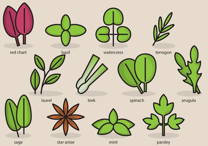 Cute Plant Icons vector