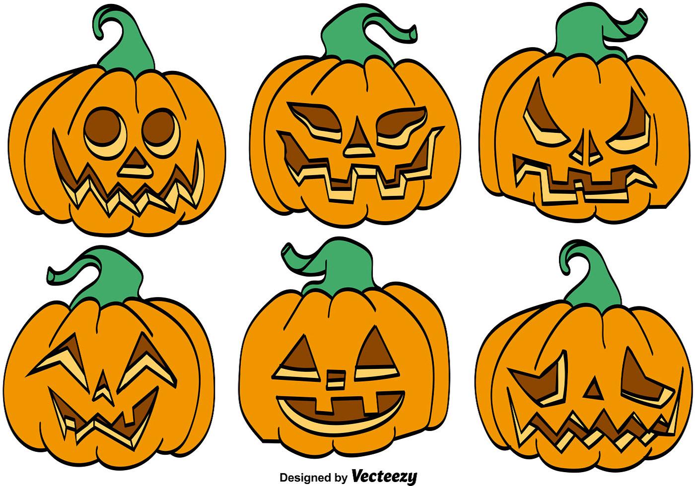 Vector conjunto de calabazas de dibujos animados para - Calabazas de halloween de miedo ...