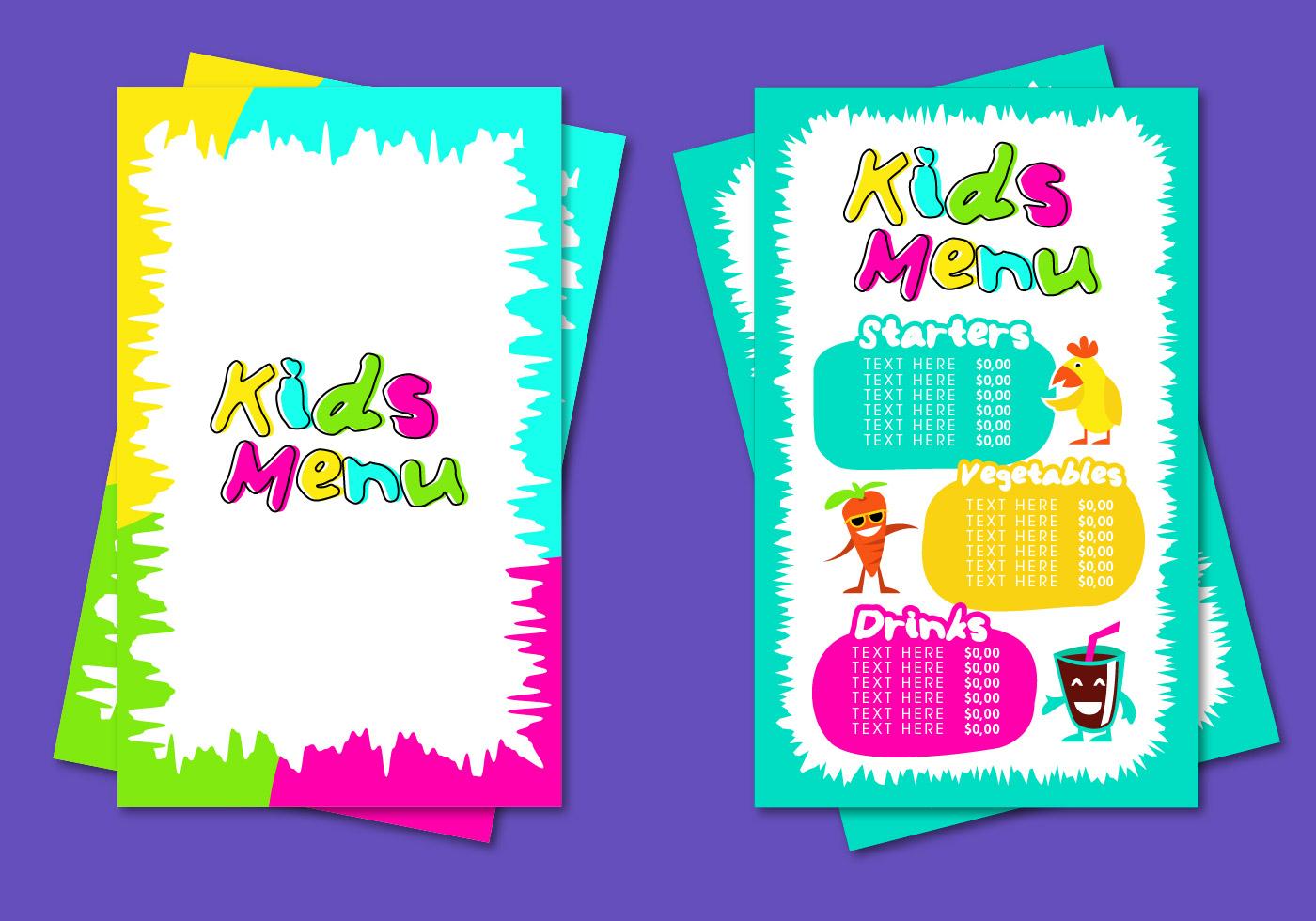 kids menu template vector download free vector art stock graphics
