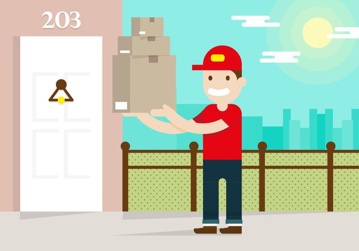 Delivery Man Flat Illustration Vector