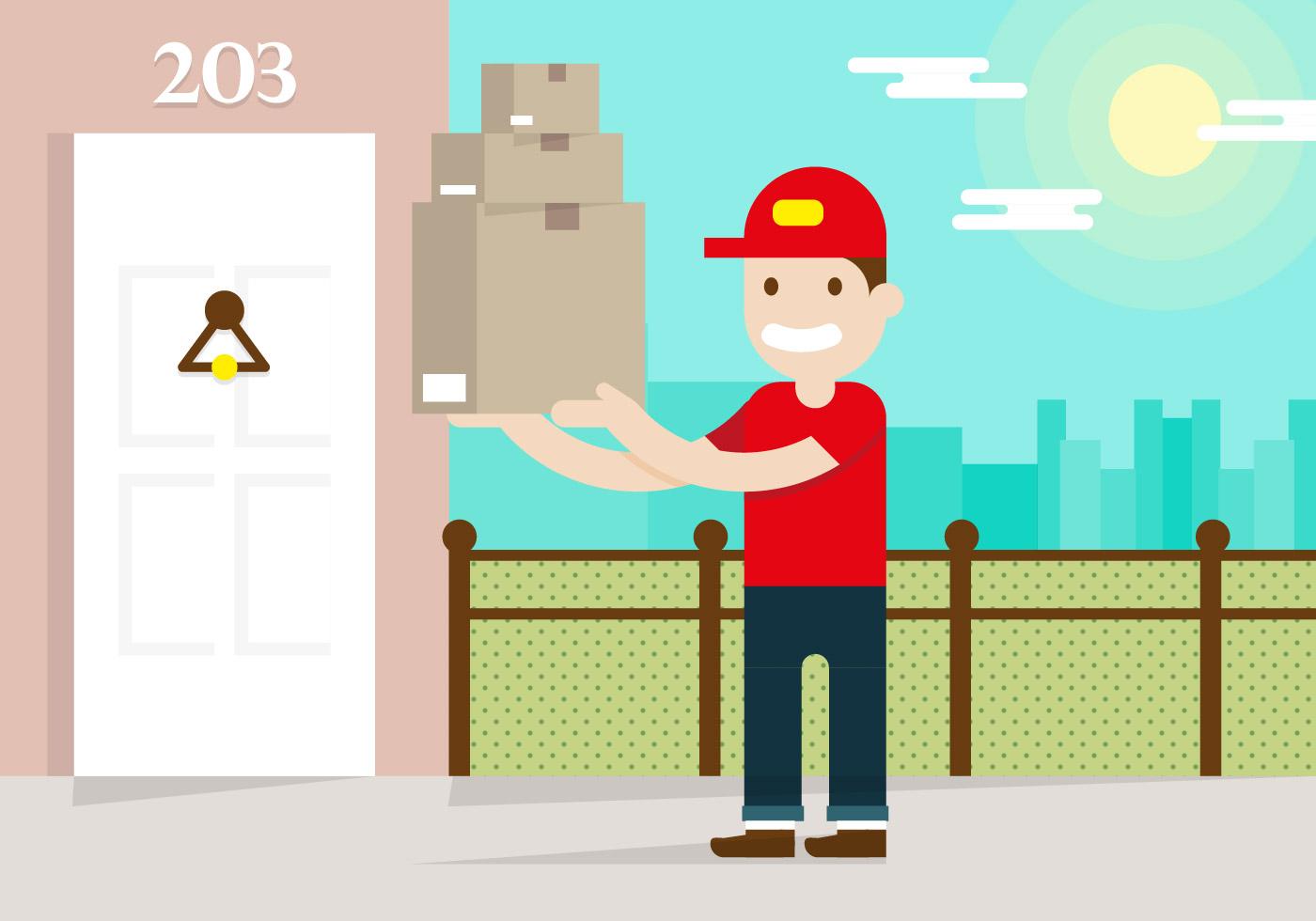 delivery man flat illustration vector download free