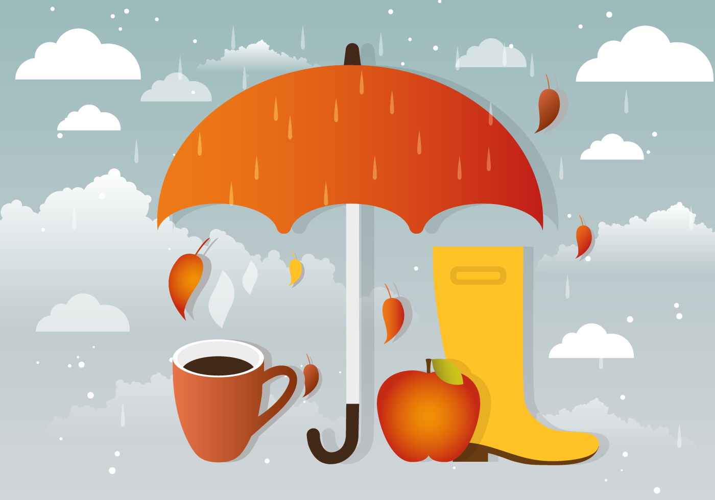 Rainy Vector Autumn Accessories - Download Free Vectors ...
