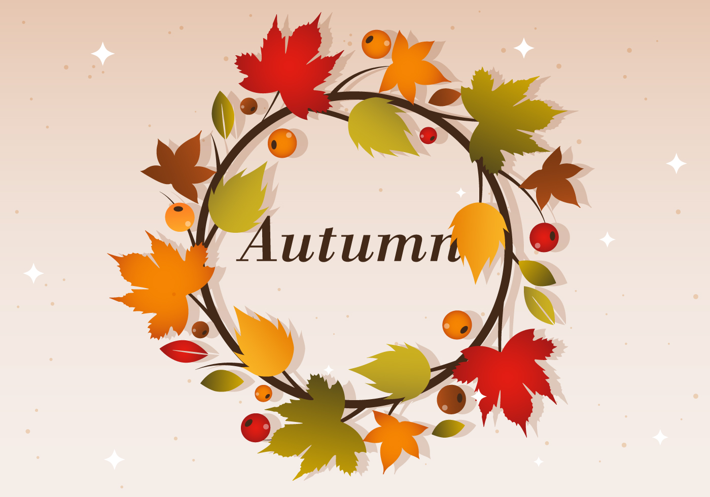 Free Autumn Vector Wreath Illustration Download Free