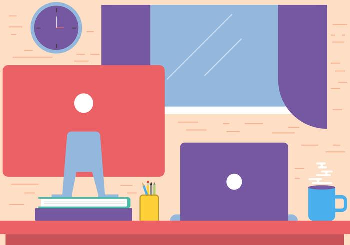 Free Flat Vector Desktop Workspace