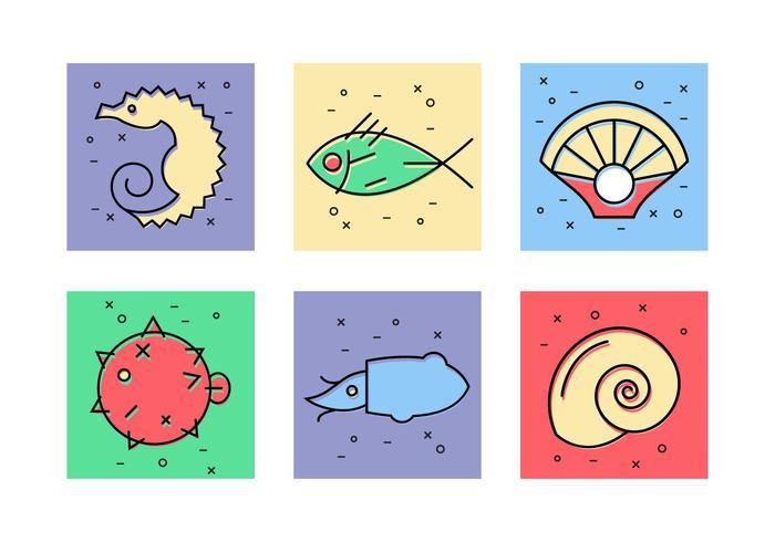 Animales marinos Iconos Vector
