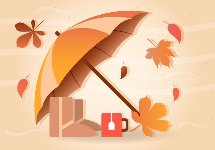 Fall Rain Vector Umbrella