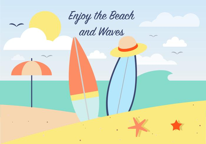 Summer Surfing Vector Background