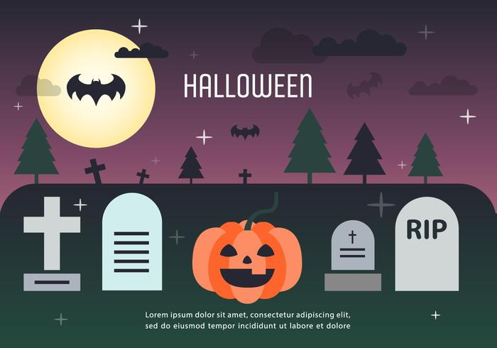 Pumpkin Halloween Graveyard Vector Illustration