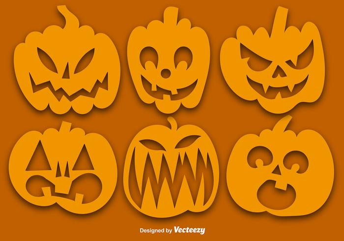Vector Set Of Orange Pumpkins Silhouettes