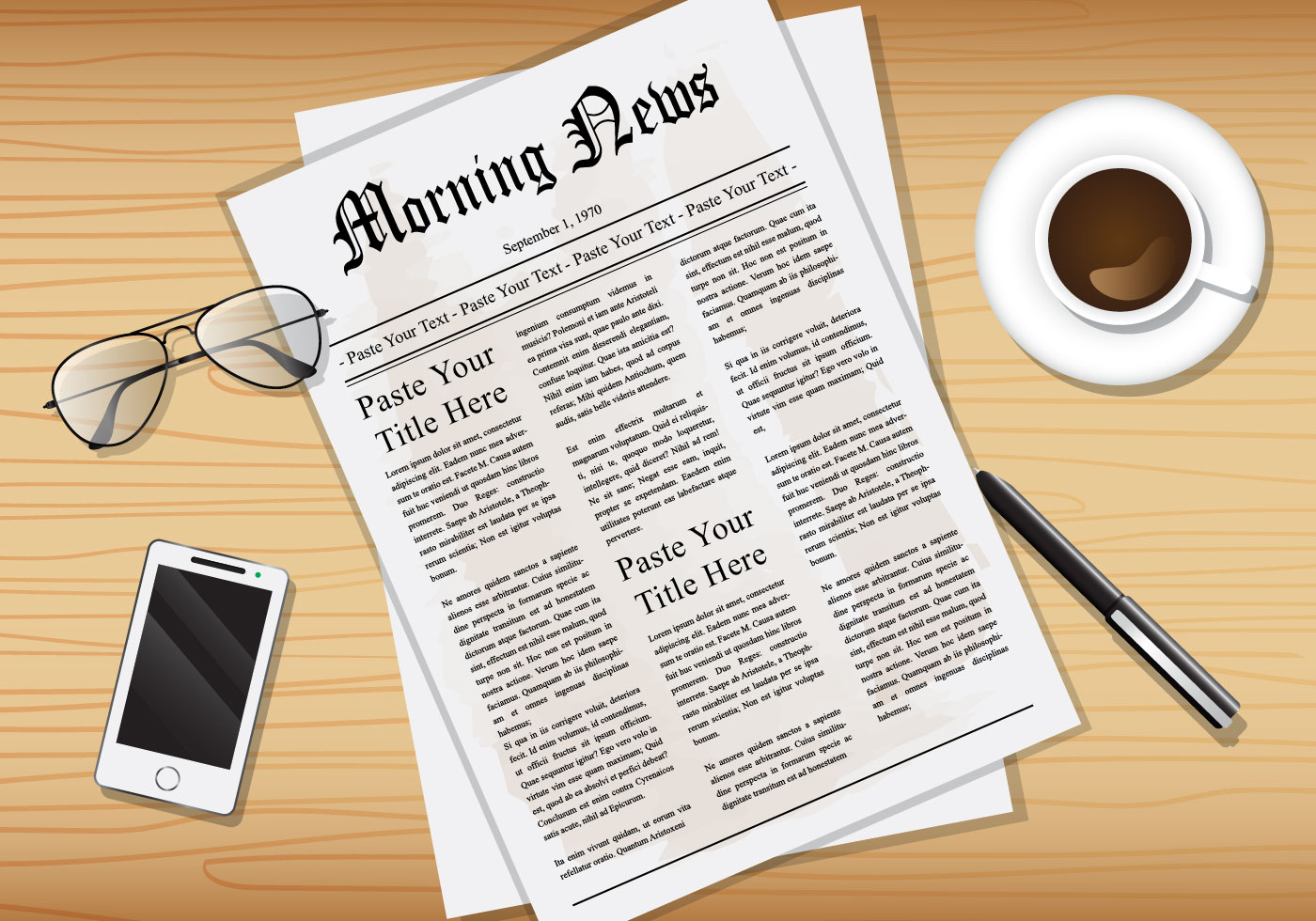 old-newspaper-from-above-vector Old World Letter Template on
