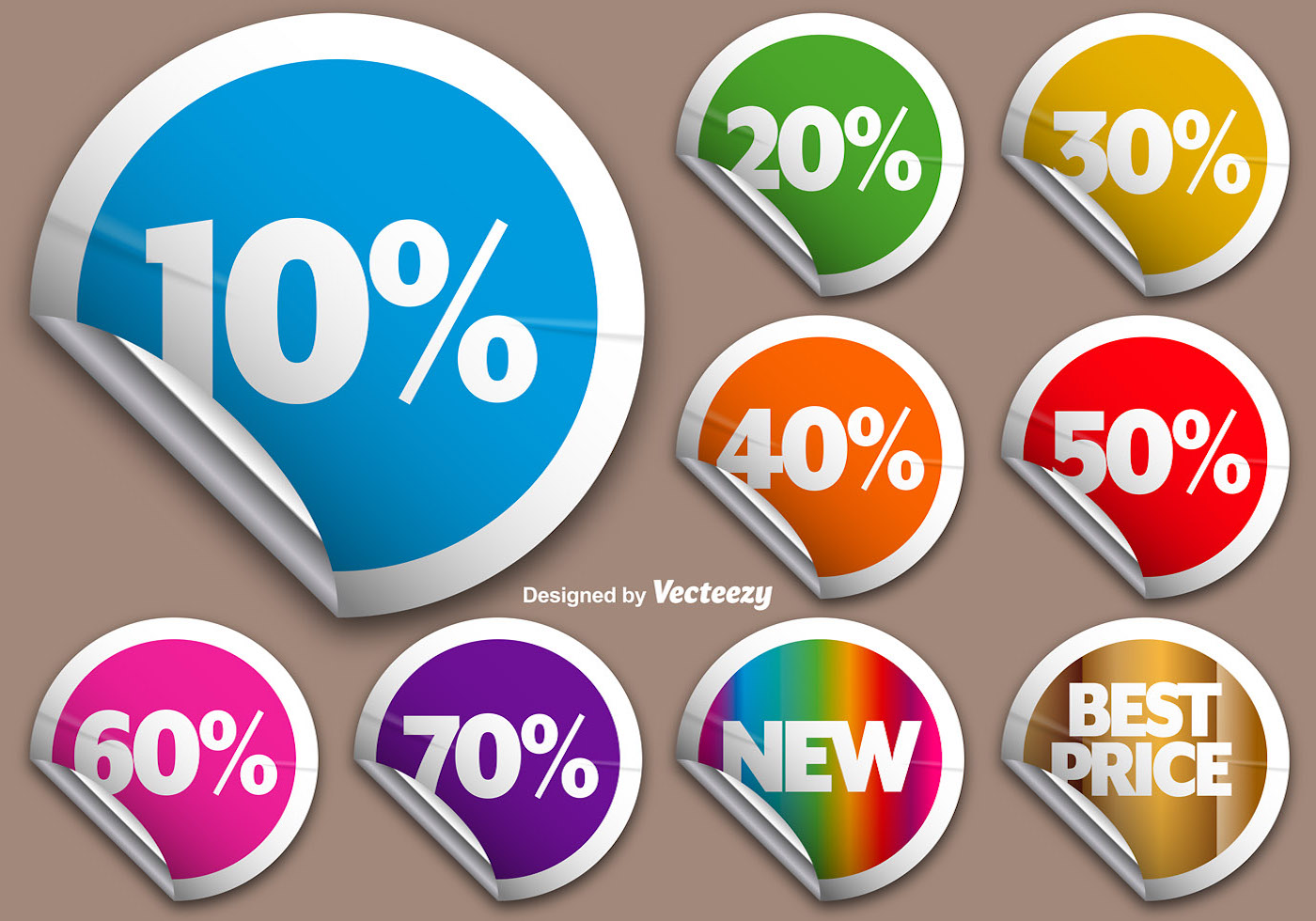 Vector set of colorful rounded promotional stickers download free vector art stock graphics images