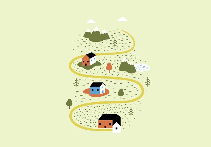 Landscape Houses Illustration