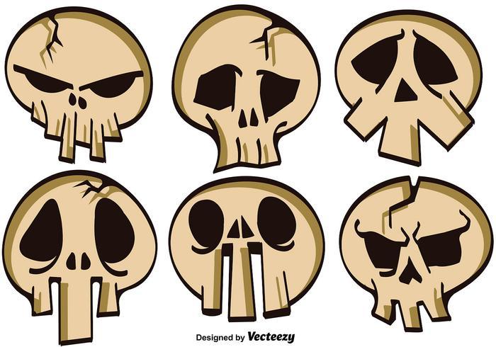 Vector Set Of Cartoon Skulls For Halloween