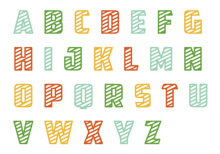 Striped Letras Vector Pack