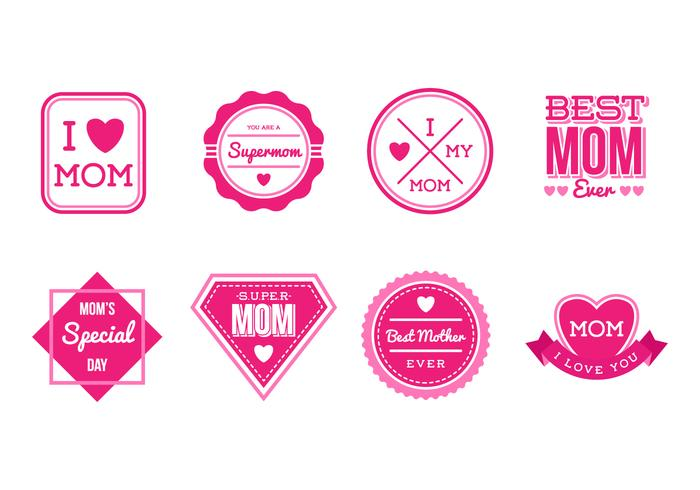 Free Set of Mothers Day Badges and Stickers Vector