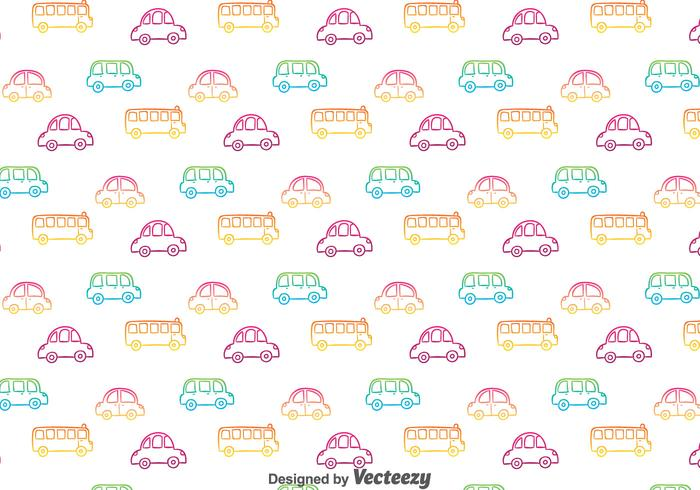 Colorful Hand Drawn Cars Pattern