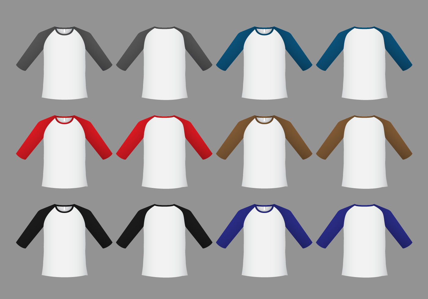 raglan t-shirt template vector