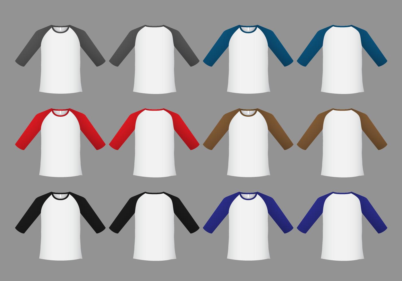 Raglan T-shirt Template Vector - Download Free Vector Art, Stock ...