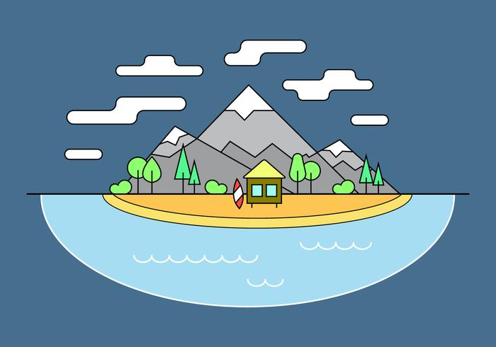 Surf Shack Mountain Vector Illustration