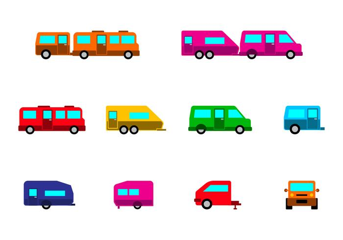 Bright Camper Caravan Icon Vector