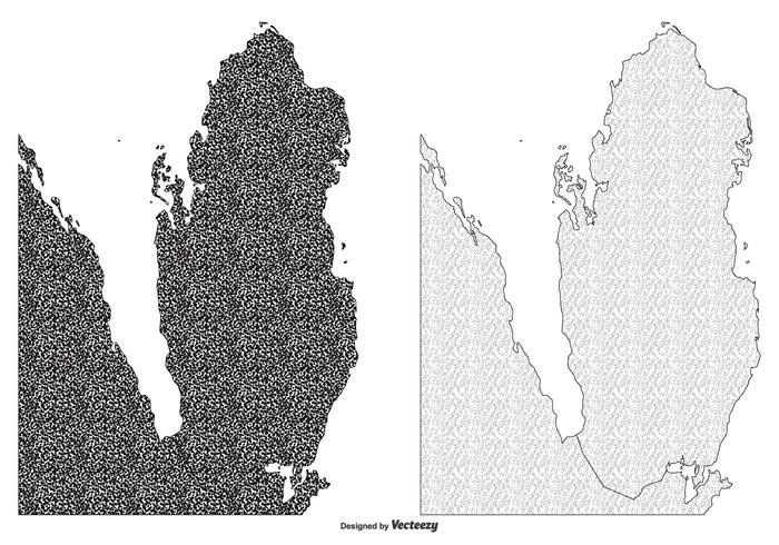 Textured Qatar Map Illustrations